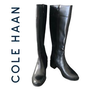 Cole Haan Cora Riding Women Boots in Black Leather
